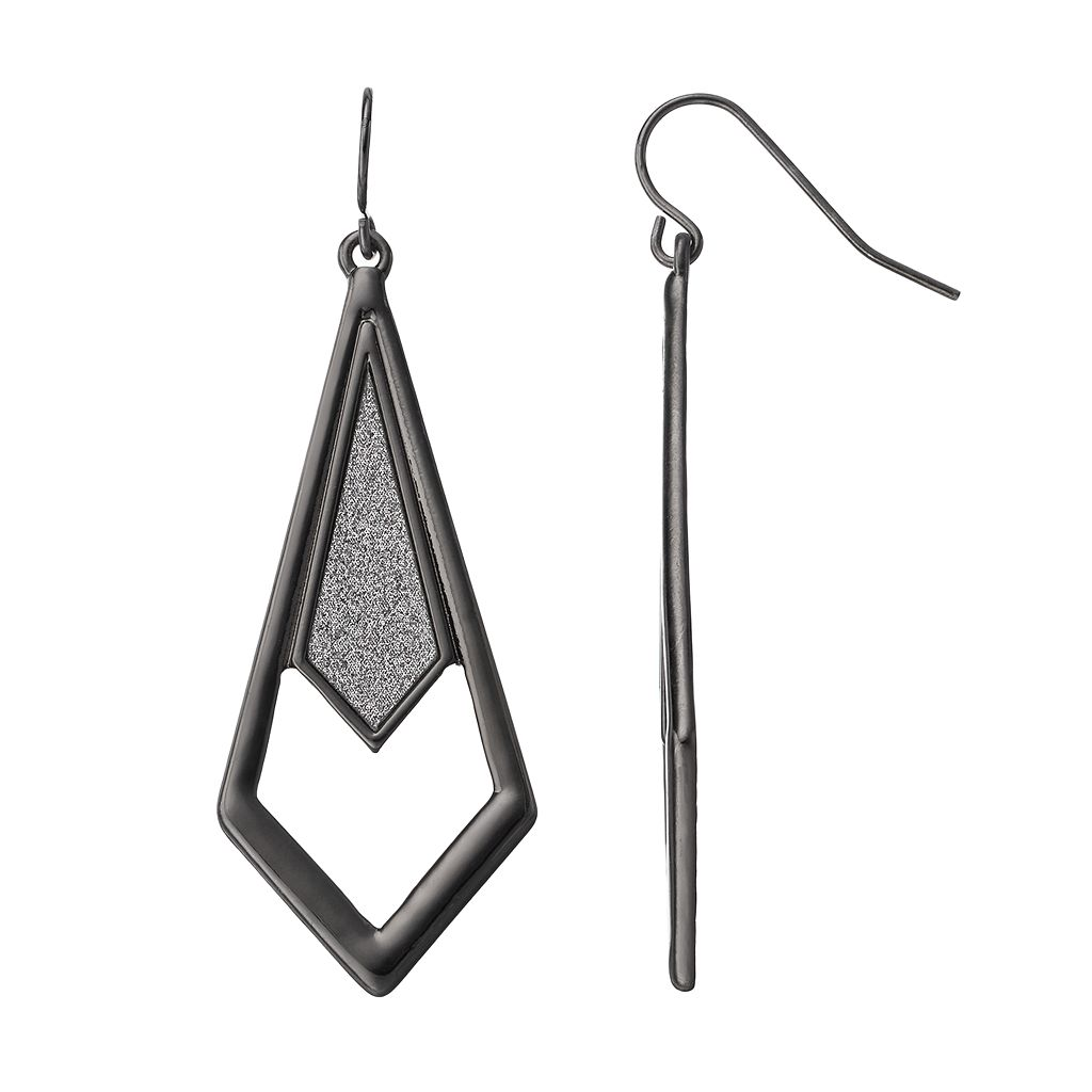 Glittery Openwork Inverted Kite Earrings