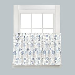 Saturday Knight, Ltd. Snow​ Flurries Snowflake Tier Kitchen Curtain​ Set​
