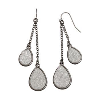 Tiered Glittery Teardrop Earrings