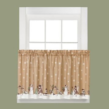 Saturday Knight, Ltd. Aspen Holiday Snowman ​Tier ​Kitchen Curtain ​Set