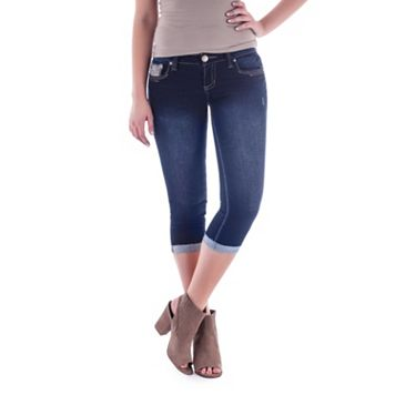 Juniors' Amethyst Embellished Denim Capris