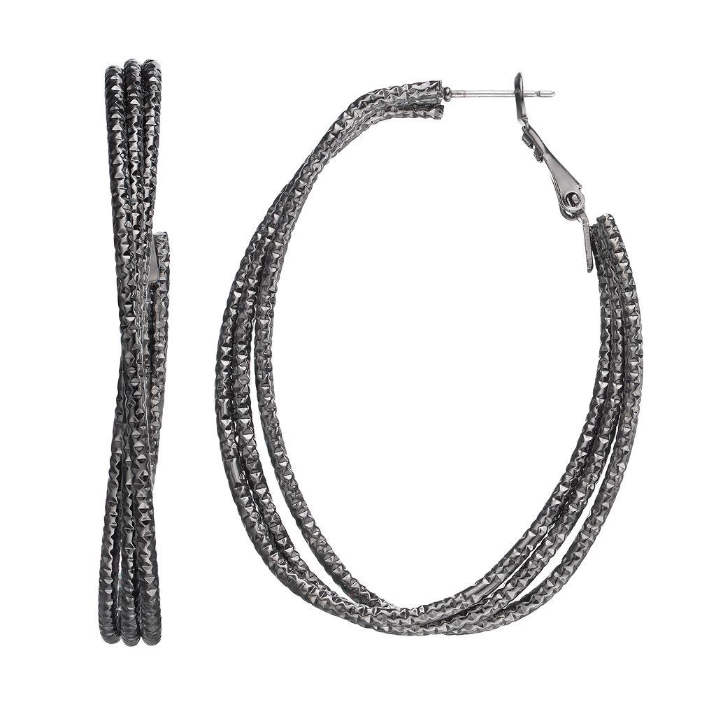Textured Crisscross Oval Hoop Earrings