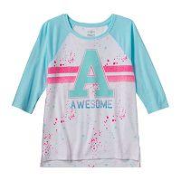 Girls Plus Size SO® Raglan Baseball Graphic Tee