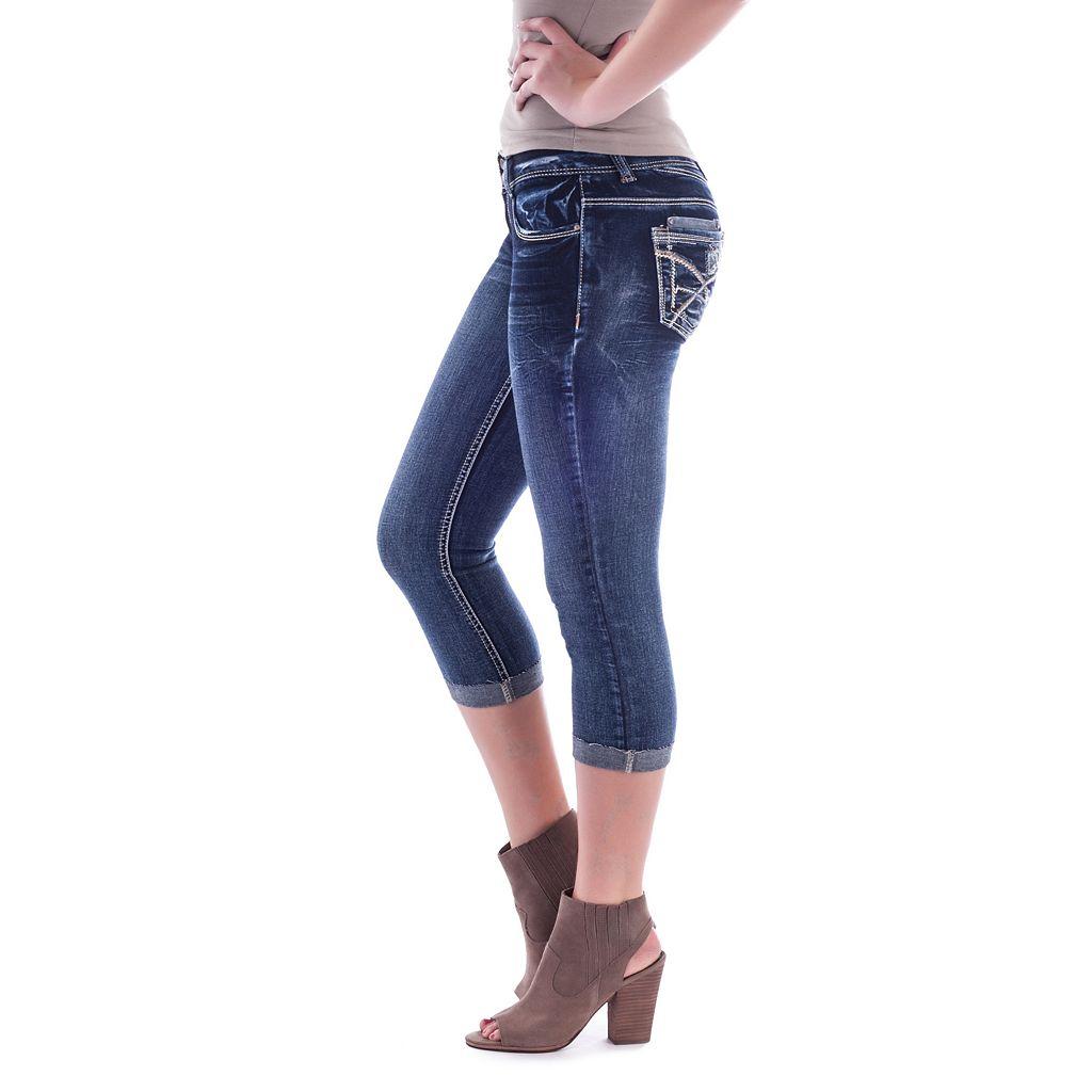 Juniors' Amethyst Contrast Stitch Capri Jeans