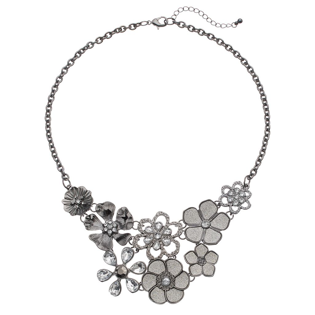 Glittery Simulated Crystal Flower Statement Necklace