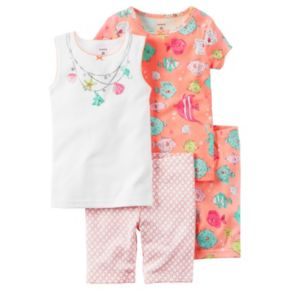 Toddler Girl Carter's 4-pc. Fish Tank Top, Tee & Shorts Pajama Set