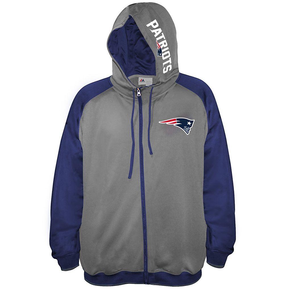 Big & Tall Majestic New EnglandPatriots Fleece Full-Zip Hoodie