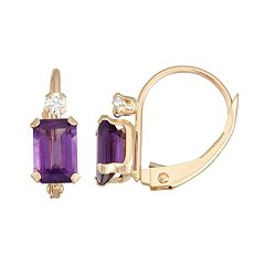 10k Gold Emerald-Cut Amethyst & White Zircon Leverback Earrings