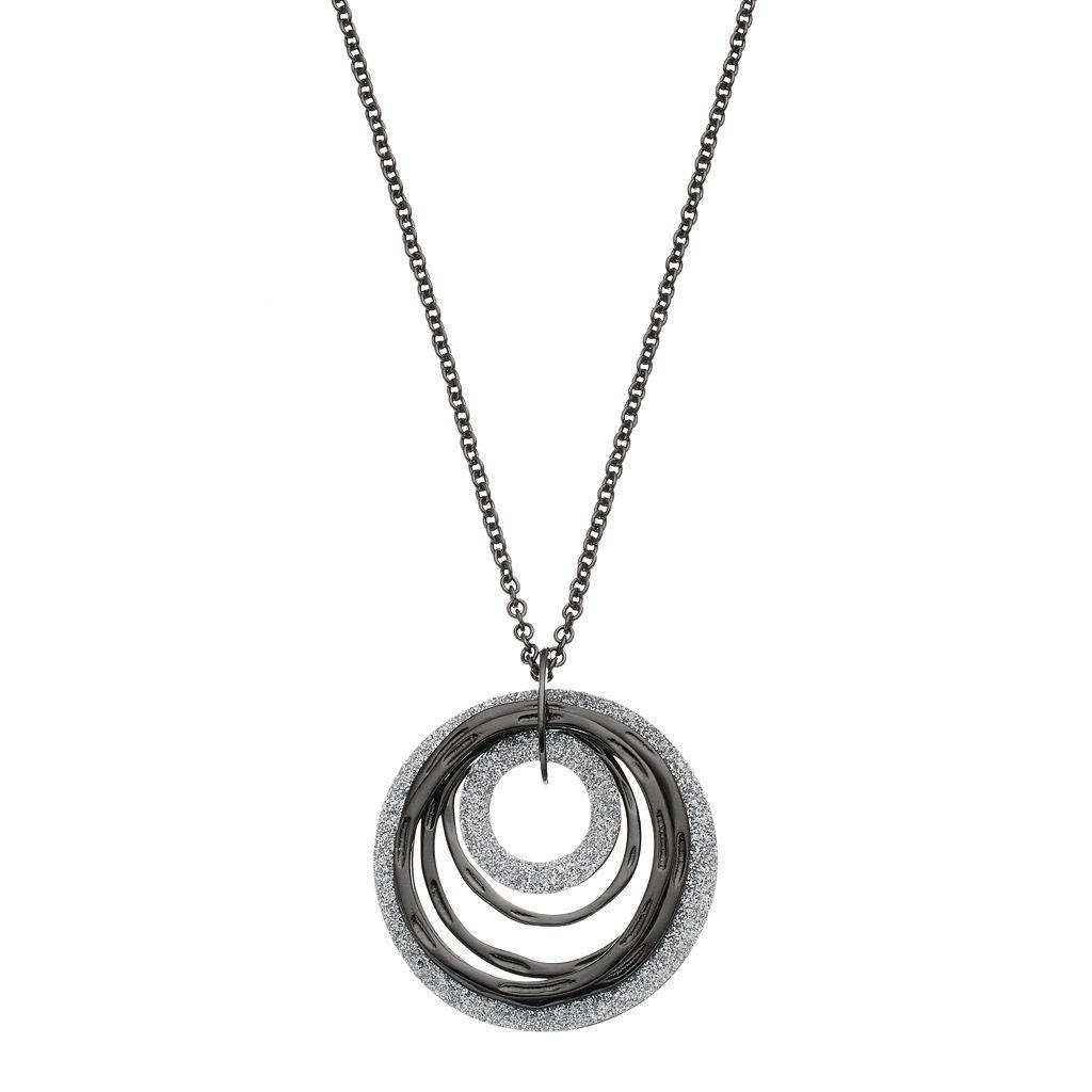 Glittery Textured Hoop Pendant Necklace