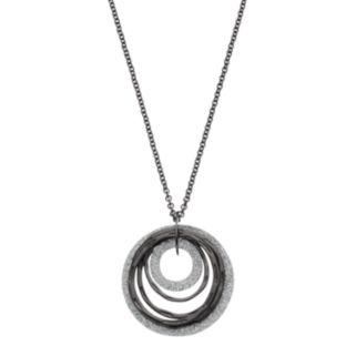 Glittery Textured Hoop Pendant Necklace