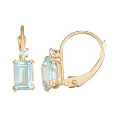 10k Gold Emerald-Cut Lab-Created Aquamarine & White Zircon Leverback Earrings