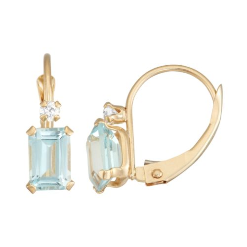 10k Gold Emerald-Cut Lab-Created Aquamarine & White Zircon Leverback Earrings