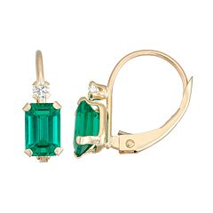 10k Gold Emerald-Cut Lab-Created Emerald & White Zircon Leverback Earrings