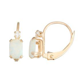 10k Gold Emerald-Cut Lab-Created Opal & White Zircon Leverback Earrings