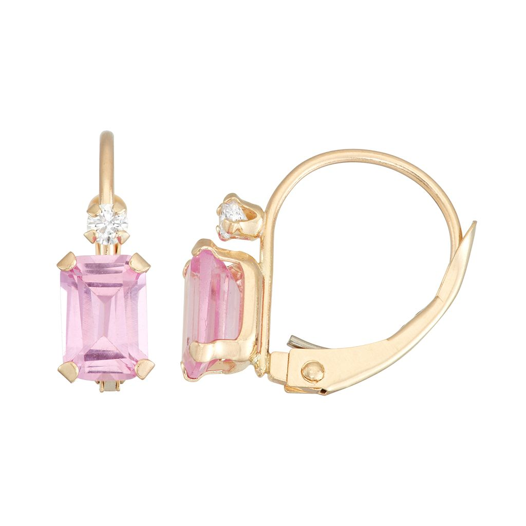 10k Gold Emerald-Cut Lab-Created Pink Sapphire & White Zircon Leverback Earrings