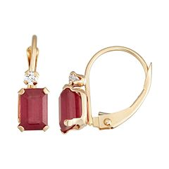 10k Gold Emerald-Cut Lab-Created Ruby & White Zircon Leverback Earrings