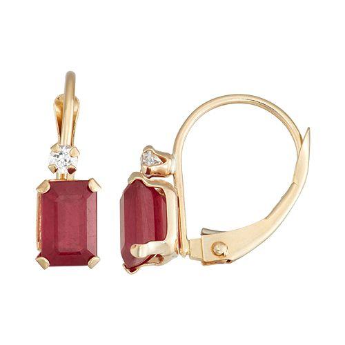 10k Gold Emerald-Cut Lab-Created Ruby & White Zircon Leverback Earrings