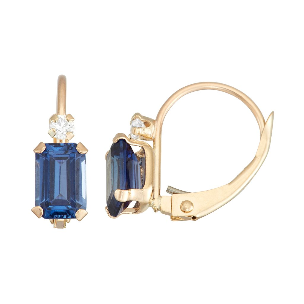 10k Gold Emerald-Cut Lab-Created Sapphire & White Zircon Leverback Earrings