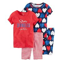 Toddler Girl Carter's 4-pc. Patriotic Tee & Shorts Pajama Set