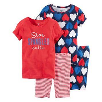 Toddler Girl Carter's 4-pc. Patriotic Tee & Shorts Pajama Set