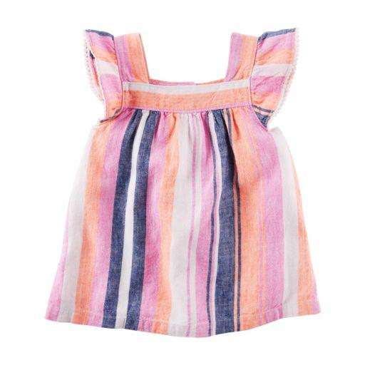 Girls 4-8 Carter's Striped Linen-Blend Top