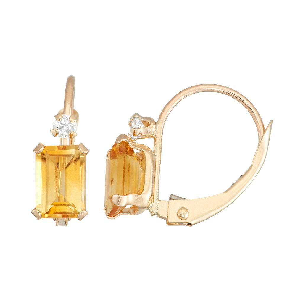 10k Gold Emerald-Cut Citrine & White Zircon Leverback Earrings