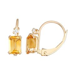 10k Gold Emerald-Cut Citrine & White Zircon Leverback Earrings