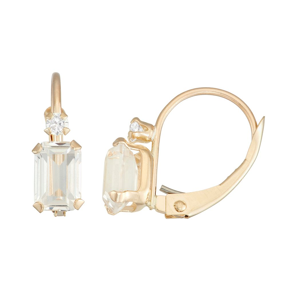 10k Gold Emerald-Cut Lab-Created White Sapphire & White Zircon Leverback Earrings