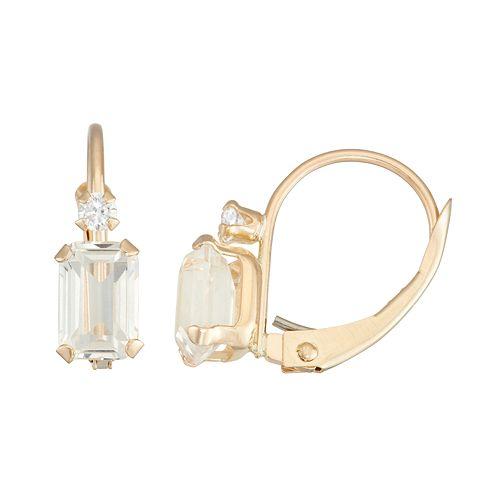 10k Gold Emerald-Cut Lab-Created White Sapphire & White Zircon Leverback Earrings