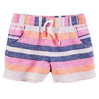Girls 4-8 Carter's Striped Linen-Blend Shorts