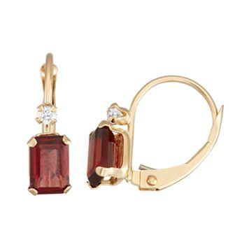 10k Gold Emerald-Cut Garnet & White Zircon Leverback Earrings