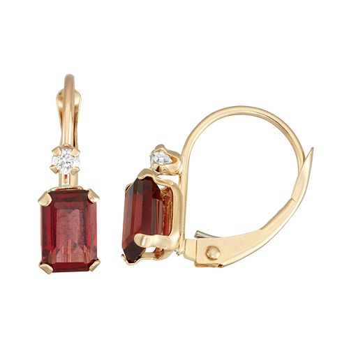 10k Gold Emerald-Cut Garnet & White Zircon Leverback Earrings