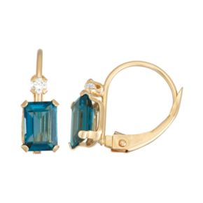 10k Gold Emerald-Cut London Blue Topaz & White Zircon Leverback Earrings
