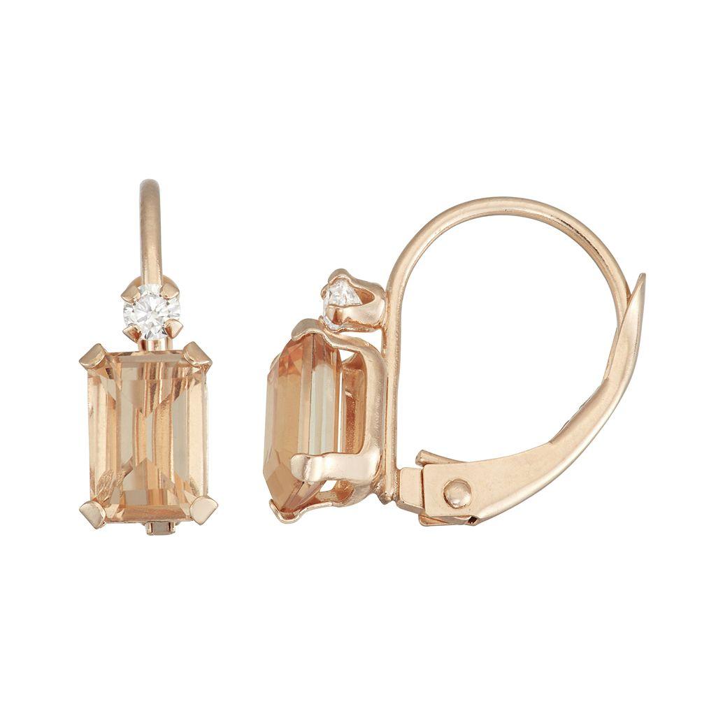 10k Rose Gold Emerald-Cut Simulated Morganite & White Zircon Leverback Earrings