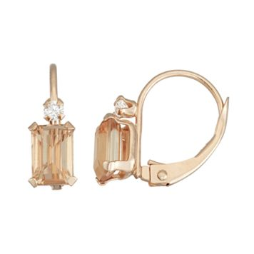 10k Rose Gold Emerald-Cut Simulated Morganite & White Zircon Leverback Earrings
