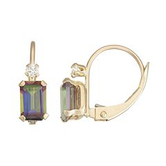 10k Gold Emerald-Cut Mystic Fire Topaz & White Zircon Leverback Earrings