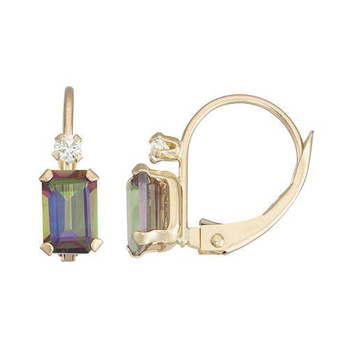 10k Gold Emerald-Cut Mystic Fire Topaz & White Zircon Leverback Earrings