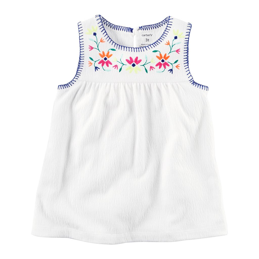 Girls 4-8 Carter's Floral Embroidered Gauze Tank Top