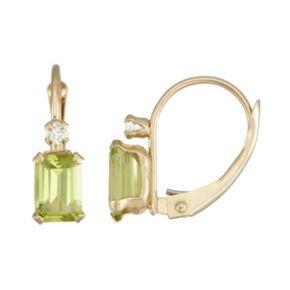10k Gold Emerald-Cut Peridot & White Zircon Leverback Earrings