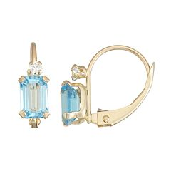 10k Gold Emerald-Cut Swiss Blue Topaz & White Zircon Leverback Earrings