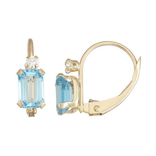 10k Gold Emerald-Cut Swiss Blue Topaz & White Zircon Leverback Earrings