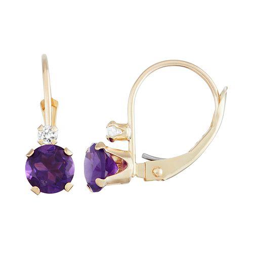 10k Gold Round-Cut Amethyst & White Zircon Leverback Earrings