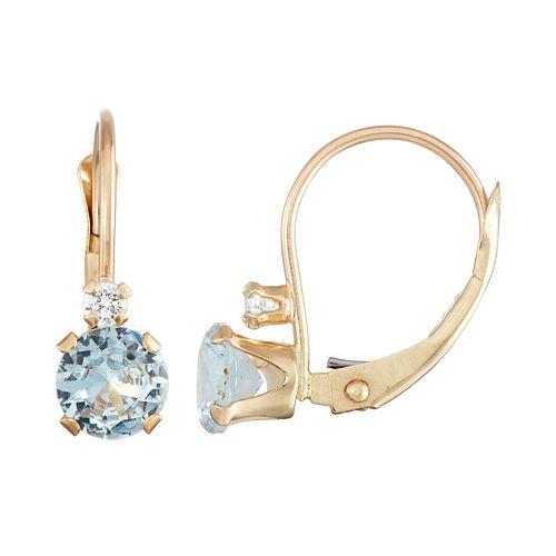 10k Gold Round-Cut Lab-Created Aquamarine & White Zircon Leverback Earrings