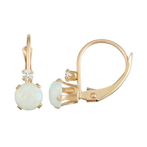 10k Gold Round-Cut Lab-Created Opal & White Zircon Leverback Earrings