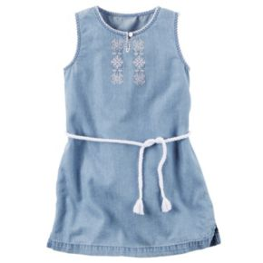 Girls 4-8 Carter's Embroidered Chambray Dress