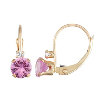 10k Gold Round-Cut Lab-Created Pink Sapphire & White Zircon Leverback Earrings