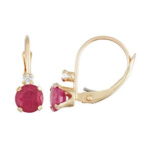 10k Gold Round-Cut Lab-Created Ruby & White Zircon Leverback Earrings