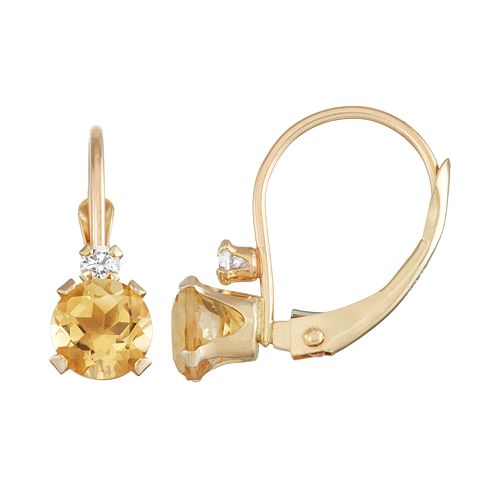 10k Gold Round-Cut Citrine & White Zircon Leverback Earrings