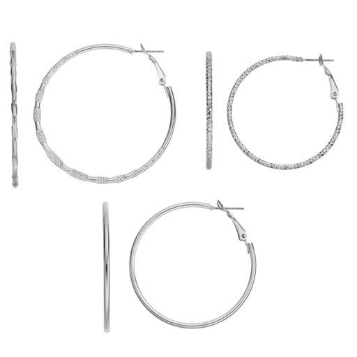 Twisted & Textured Nickel Free Hoop Earring Set