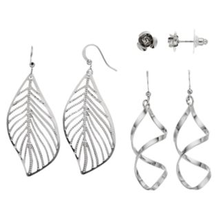 Leaf, Twist & Flower Nickel Free Earring Set